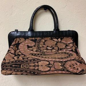 Coldwater Creek Tapestry Bag, brown leather trim
